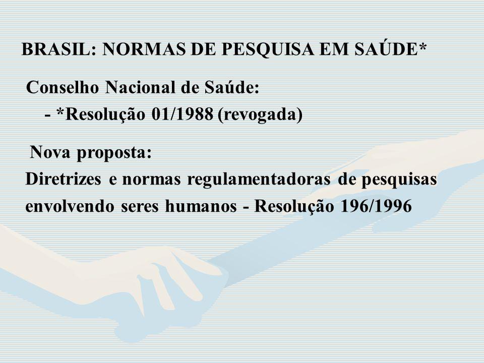 BRASIL: NORMAS DE PESQUISA EM SAÚDE*