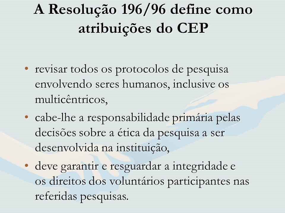 A Resolução 196/96 define como atribuições do CEP