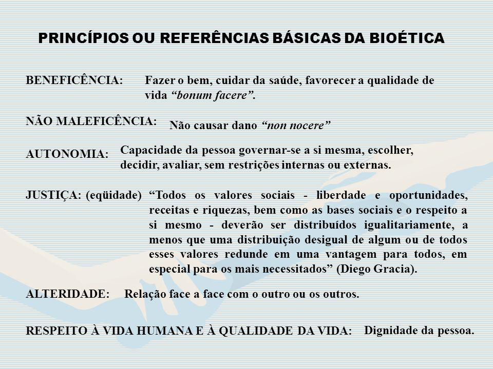 PRINCÍPIOS OU REFERÊNCIAS BÁSICAS DA BIOÉTICA