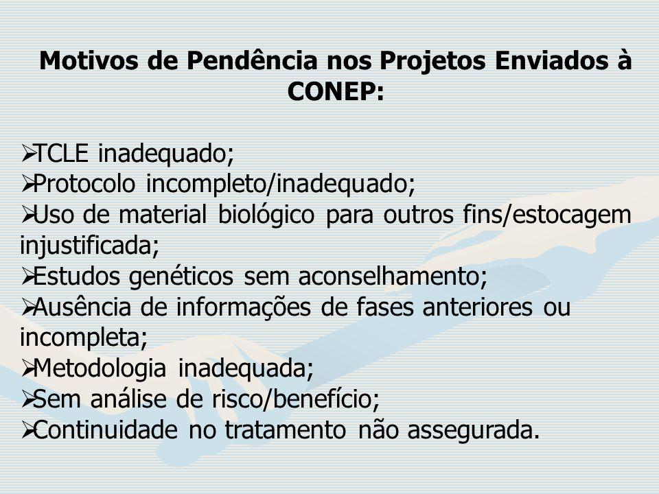 Motivos de Pendência nos Projetos Enviados à CONEP: