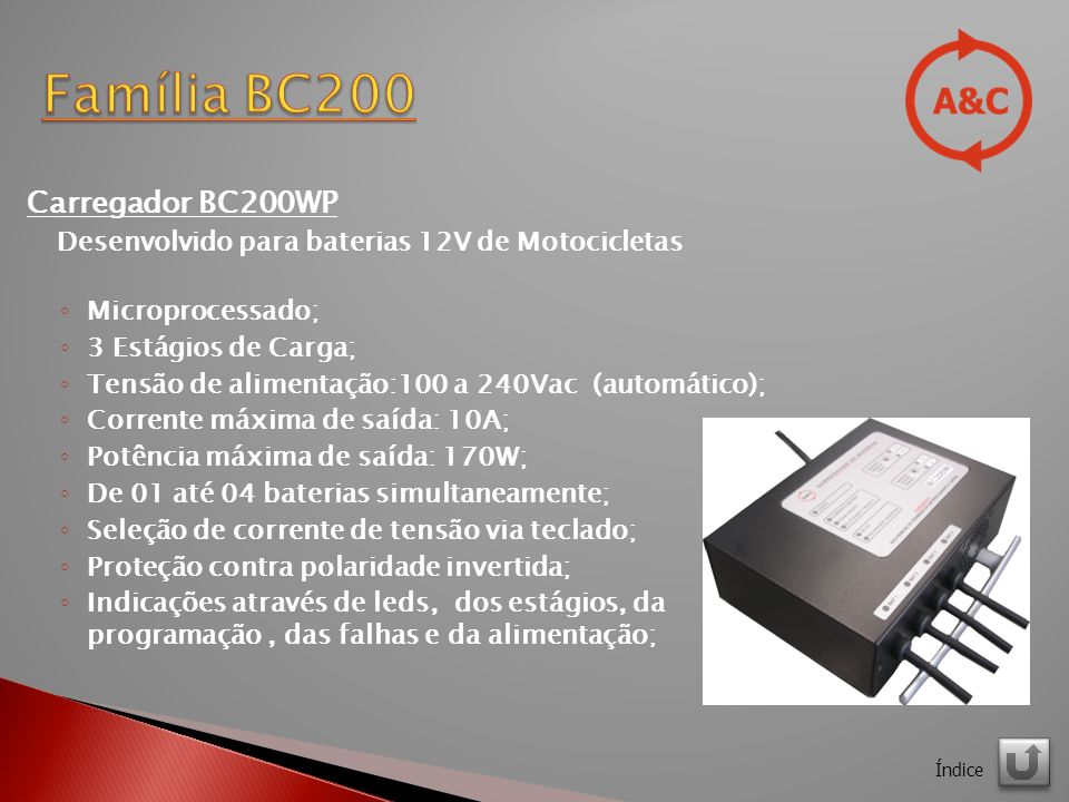 Família BC200 Carregador BC200WP