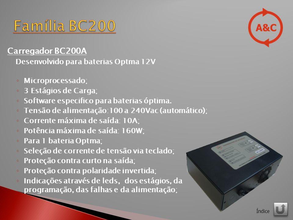 Família BC200 Carregador BC200A Desenvolvido para baterias Optma 12V