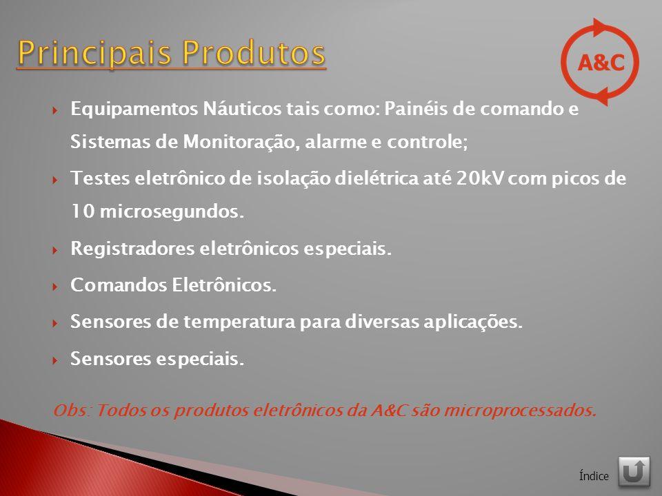 Principais Produtos Equipamentos Náuticos tais como: Painéis de comando e Sistemas de Monitoração, alarme e controle;