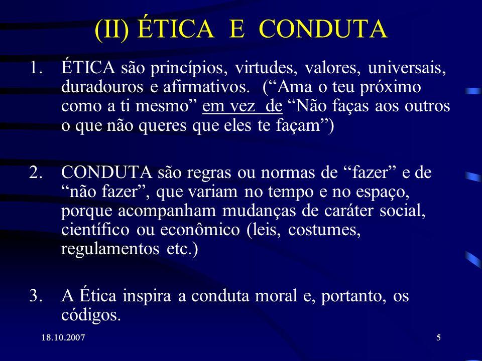 (II) ÉTICA E CONDUTA