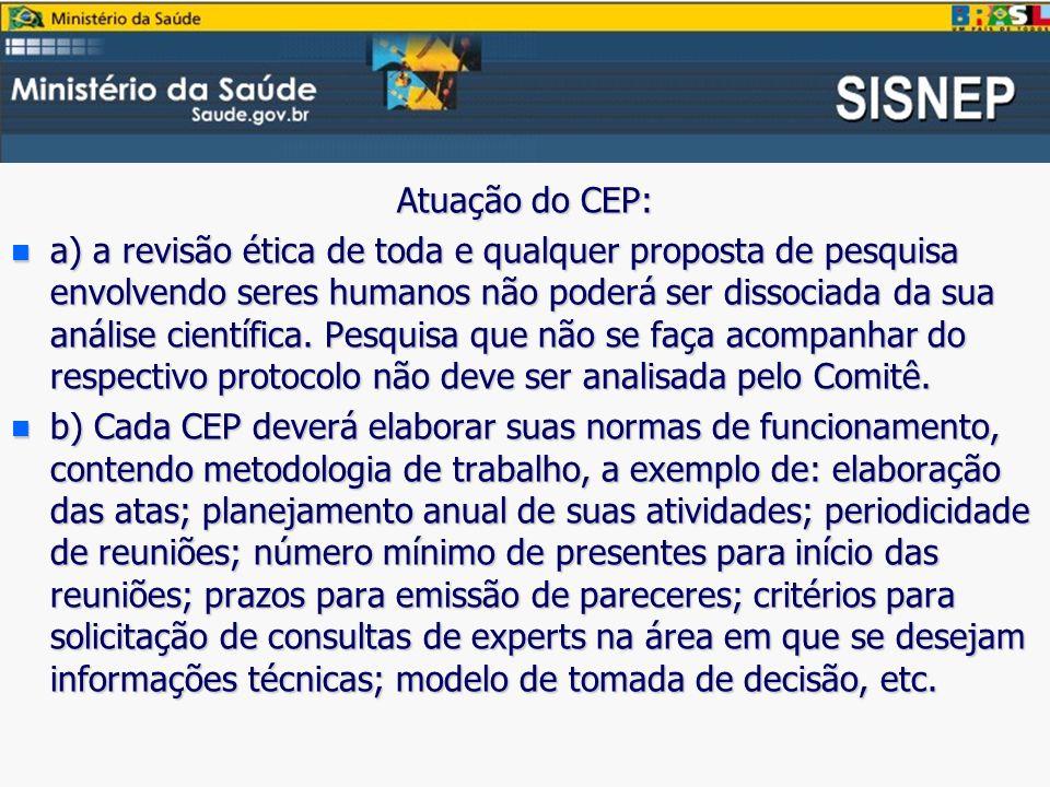 Atuação do CEP: