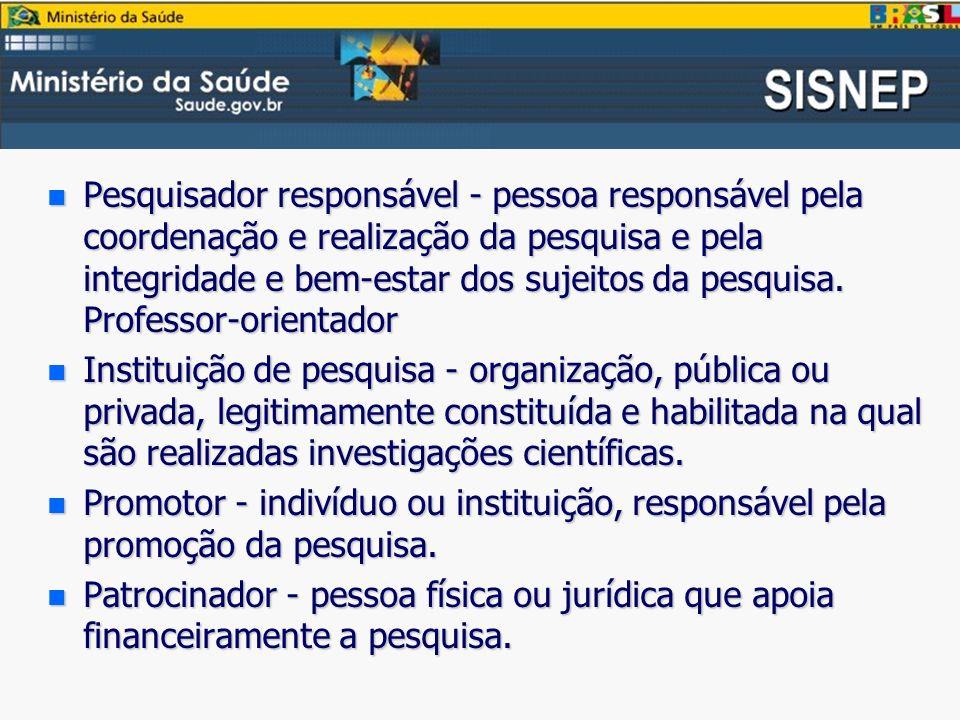 Pesquisador responsável - pessoa responsável pela coordenação e realização da pesquisa e pela integridade e bem-estar dos sujeitos da pesquisa. Professor-orientador