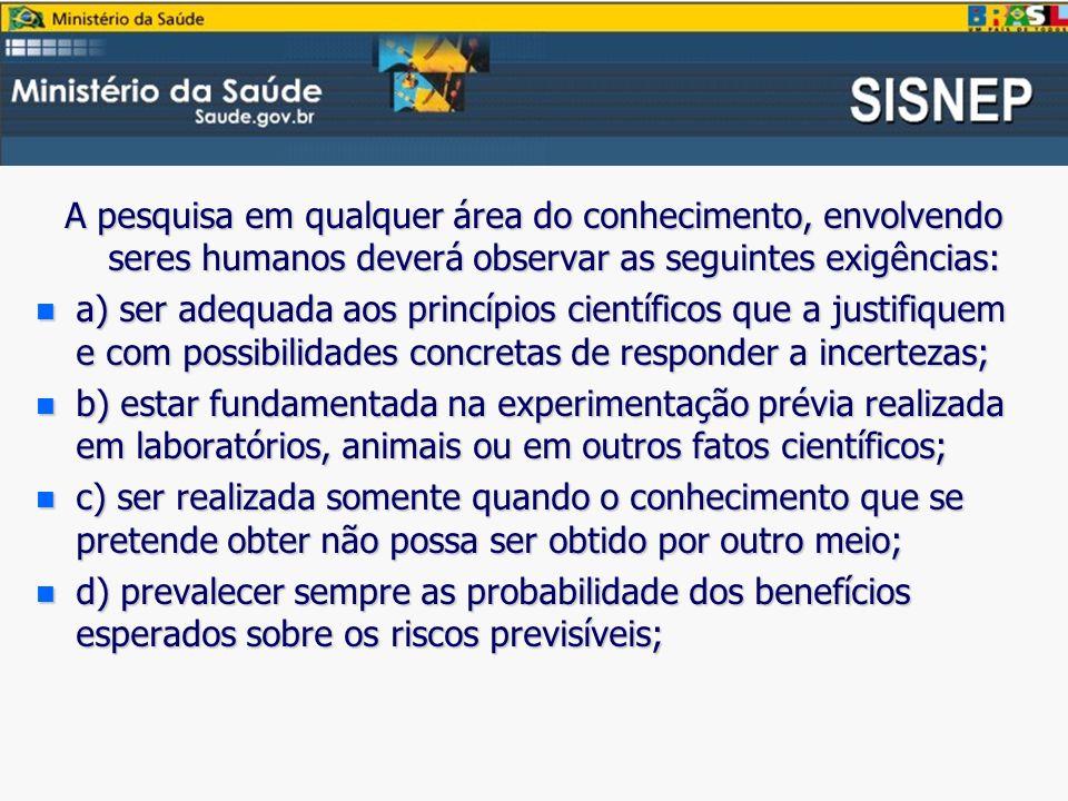A pesquisa em qualquer área do conhecimento, envolvendo seres humanos deverá observar as seguintes exigências: