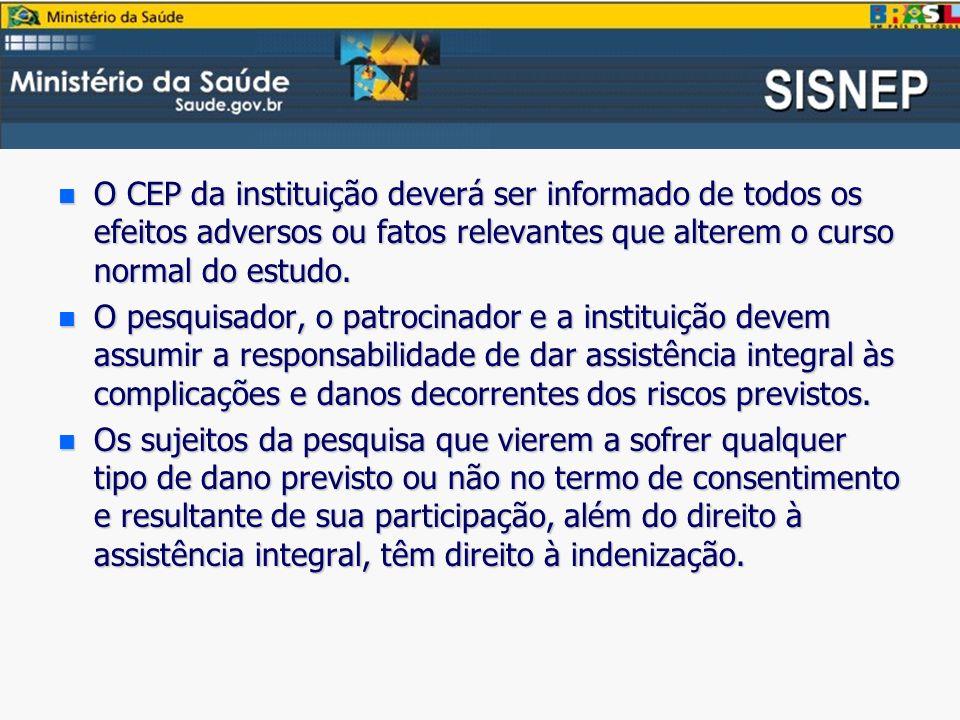 O CEP da instituição deverá ser informado de todos os efeitos adversos ou fatos relevantes que alterem o curso normal do estudo.
