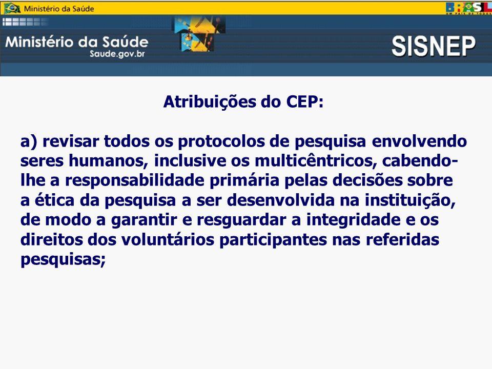 Atribuições do CEP: