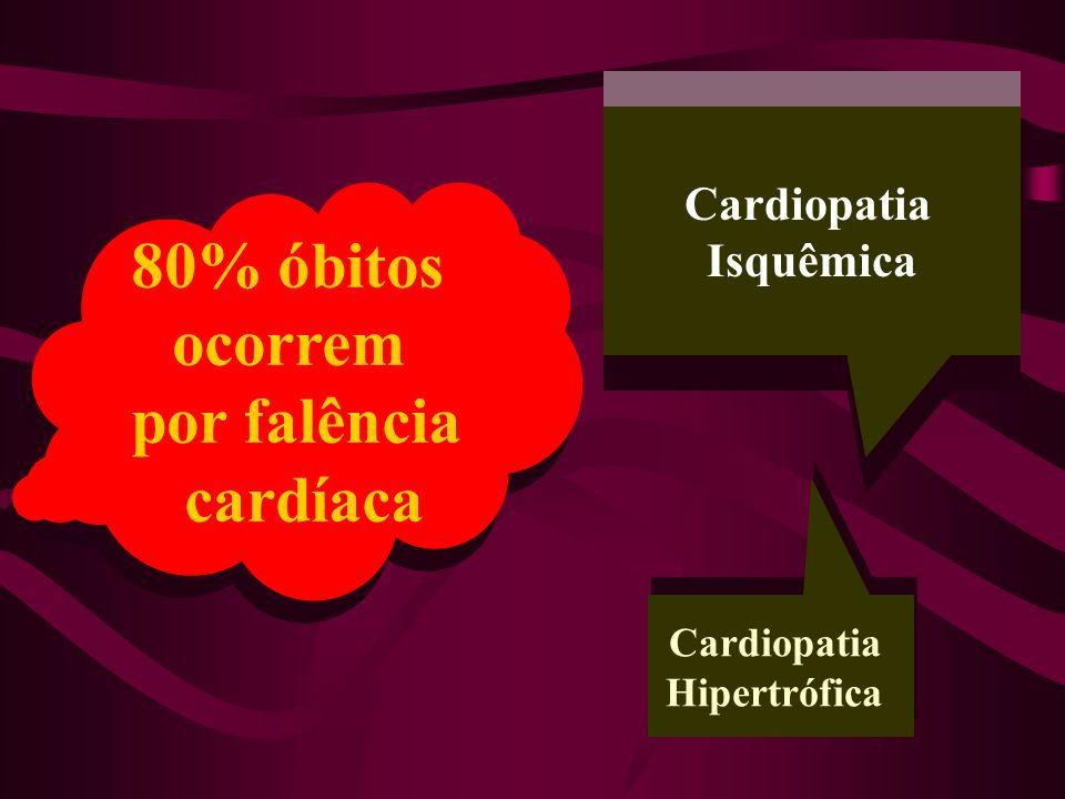 80% óbitos ocorrem por falência cardíaca