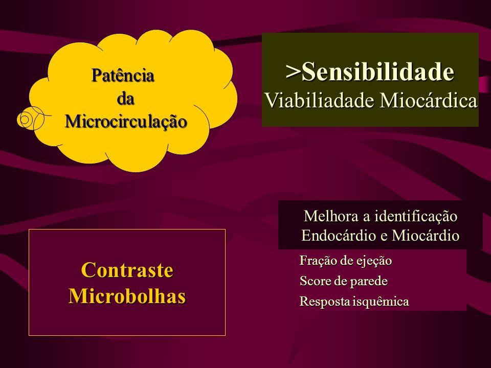 >Sensibilidade Viabiliadade Miocárdica Contraste Microbolhas