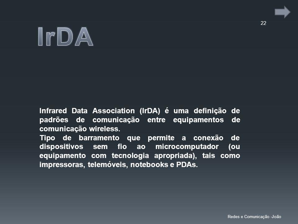 IrDA Infrared Data Association (IrDA) é uma definição de padrões de comunicação entre equipamentos de comunicação wireless.