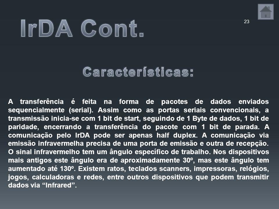 IrDA Cont. Características: