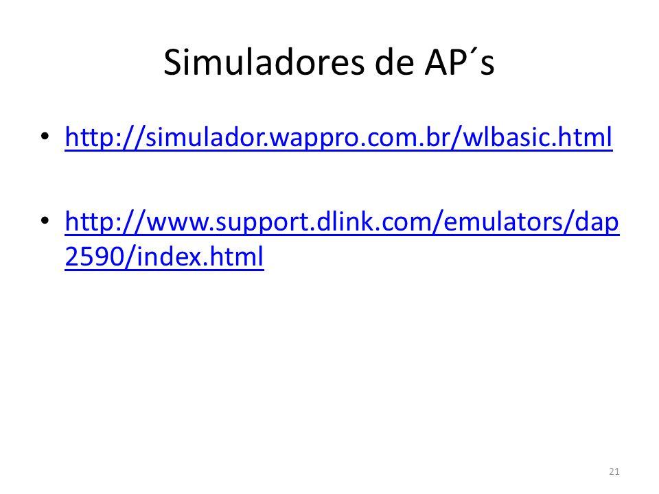 Simuladores de AP´s http://simulador.wappro.com.br/wlbasic.html