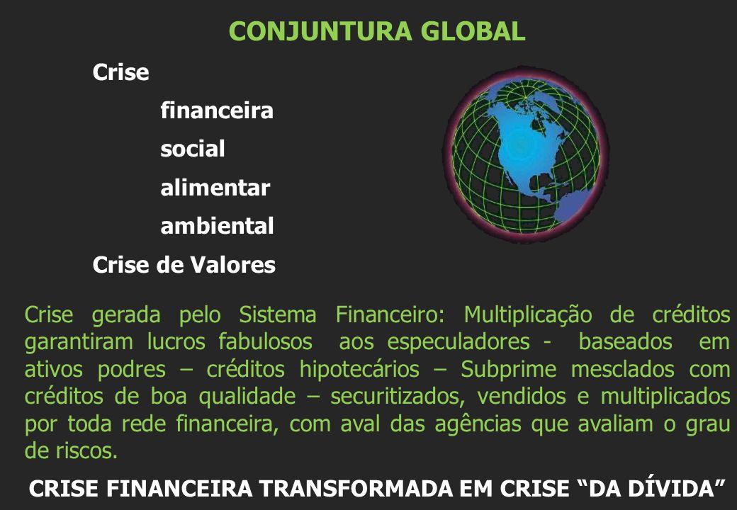 CONJUNTURA GLOBAL Crise financeira social alimentar ambiental