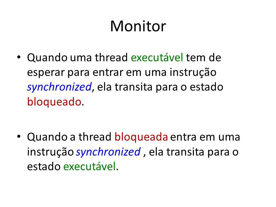 Monitor Quando uma thread executável tem de esperar para entrar em uma instrução synchronized, ela transita para o estado bloqueado.
