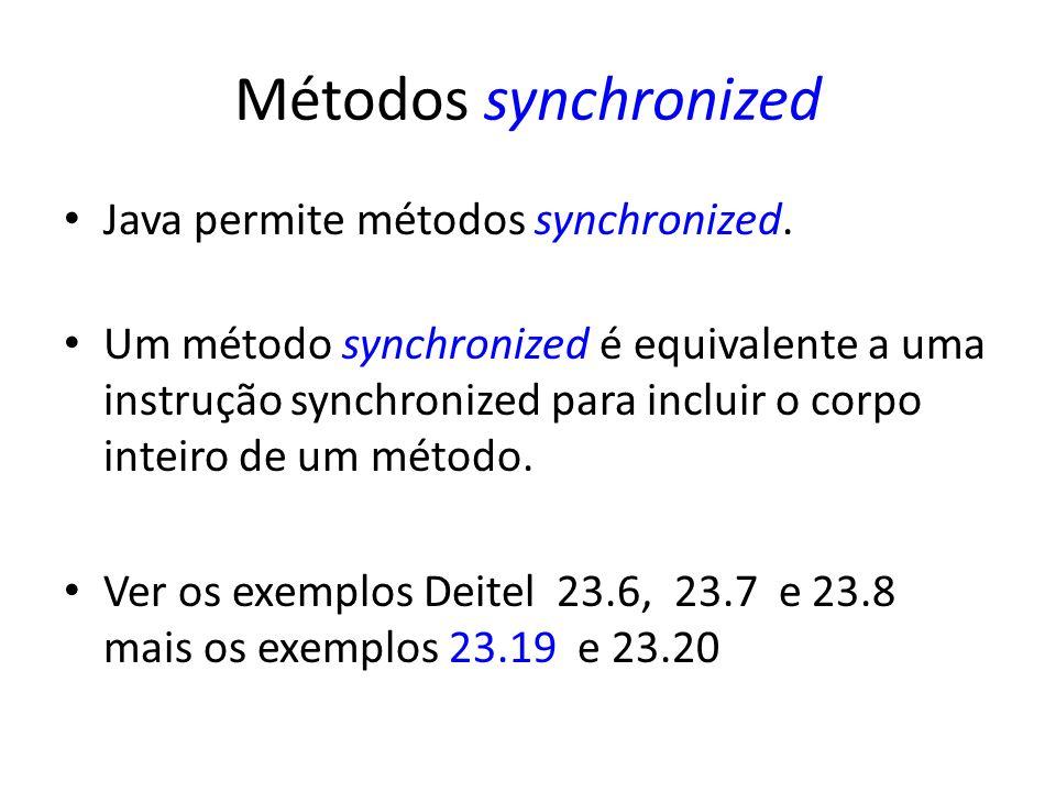 Métodos synchronized Java permite métodos synchronized.