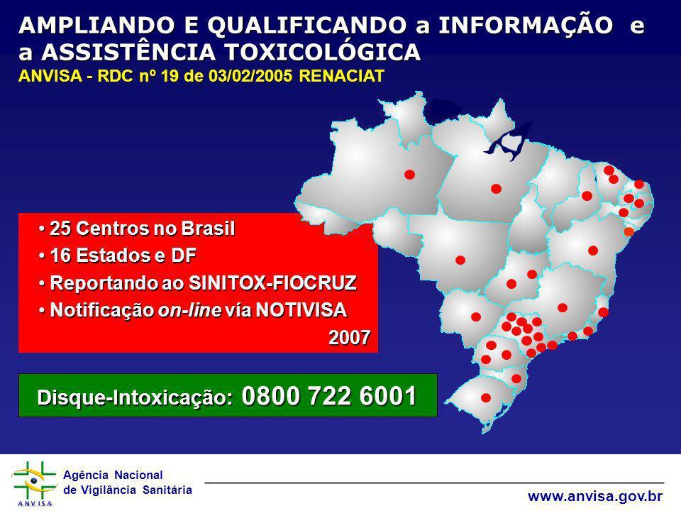 AMPLIANDO E QUALIFICANDO a INFORMAÇÃO e a ASSISTÊNCIA TOXICOLÓGICA ANVISA - RDC nº 19 de 03/02/2005 RENACIAT