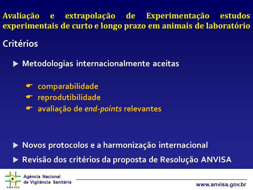 Critérios Metodologias internacionalmente aceitas