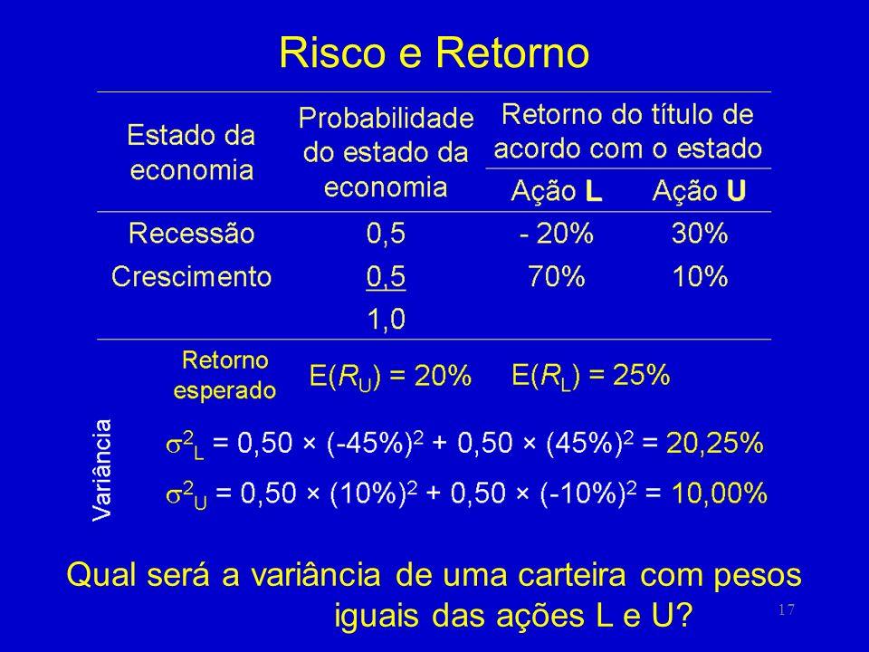 Risco e Retorno Qual será a variância de uma carteira com pesos iguais das ações L e U