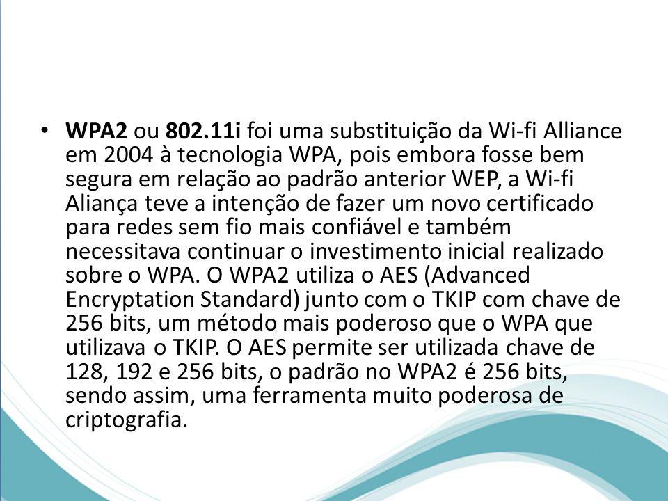 WPA2 ou 802.11i foi uma substituição da Wi-fi Alliance em 2004 à tecnologia WPA, pois embora fosse bem segura em relação ao padrão anterior WEP, a Wi-fi Aliança teve a intenção de fazer um novo certificado para redes sem fio mais confiável e também necessitava continuar o investimento inicial realizado sobre o WPA.