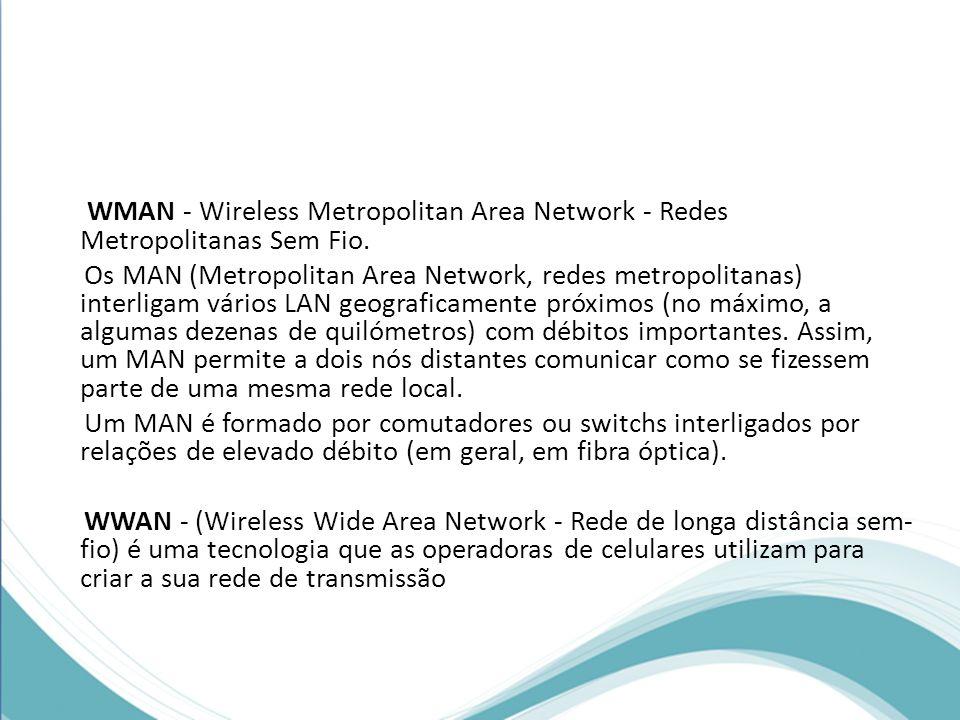 WMAN - Wireless Metropolitan Area Network - Redes Metropolitanas Sem Fio.