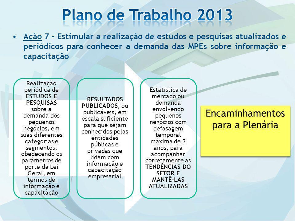 Plano de Trabalho 2013 Encaminhamentos para a Plenária