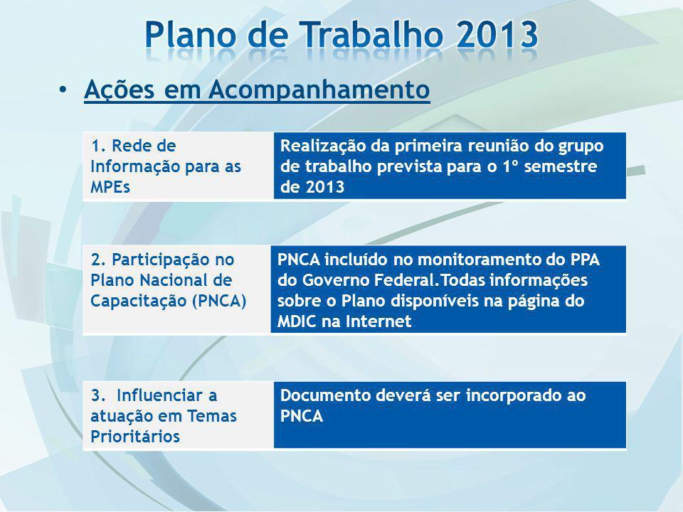 Plano de Trabalho 2013 Ações em Acompanhamento