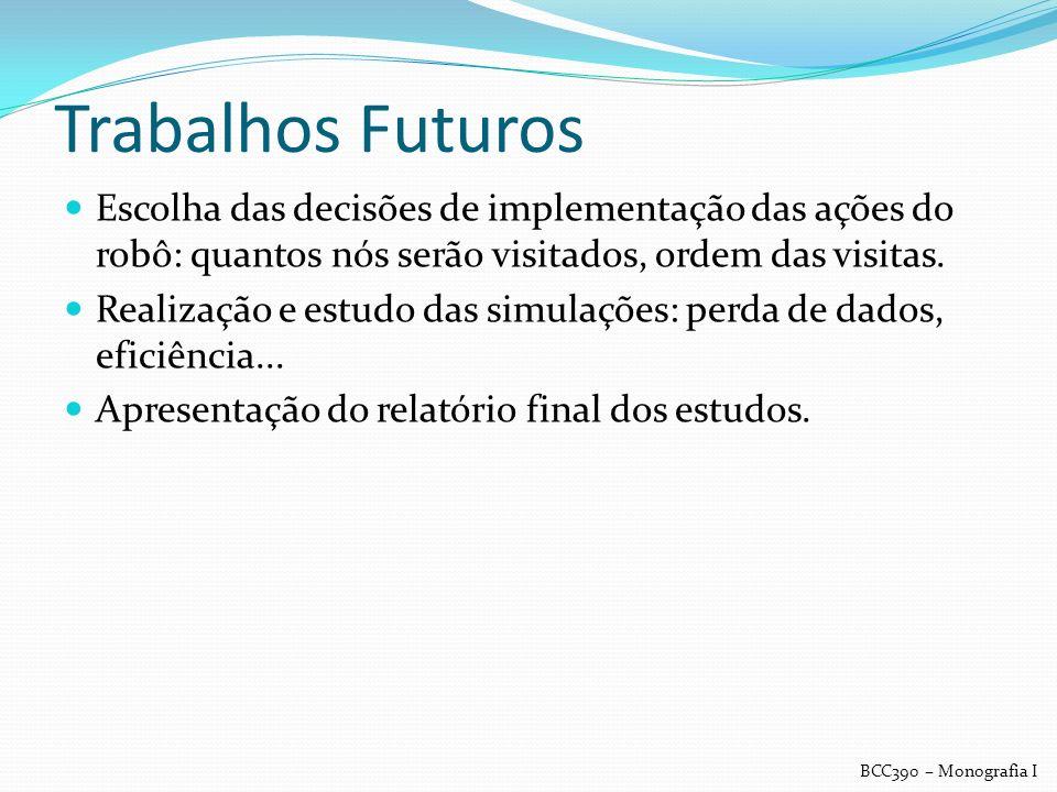 Trabalhos Futuros Escolha das decisões de implementação das ações do robô: quantos nós serão visitados, ordem das visitas.