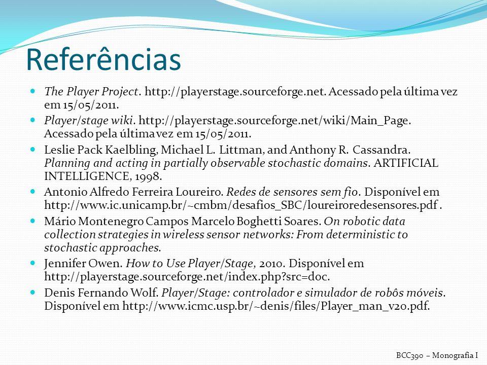 Referências The Player Project. http://playerstage.sourceforge.net. Acessado pela última vez em 15/05/2011.