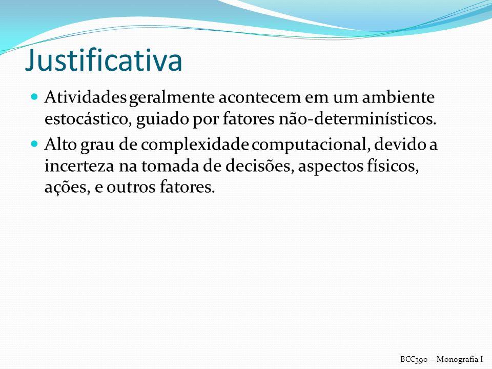 Justificativa Atividades geralmente acontecem em um ambiente estocástico, guiado por fatores não-determinísticos.
