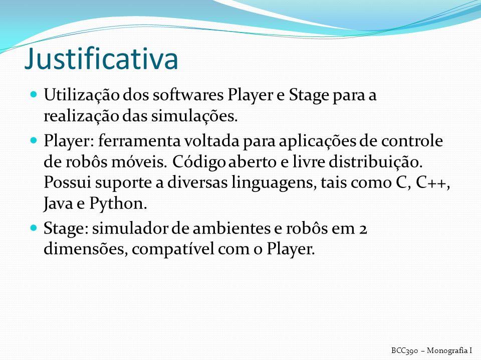 Justificativa Utilização dos softwares Player e Stage para a realização das simulações.