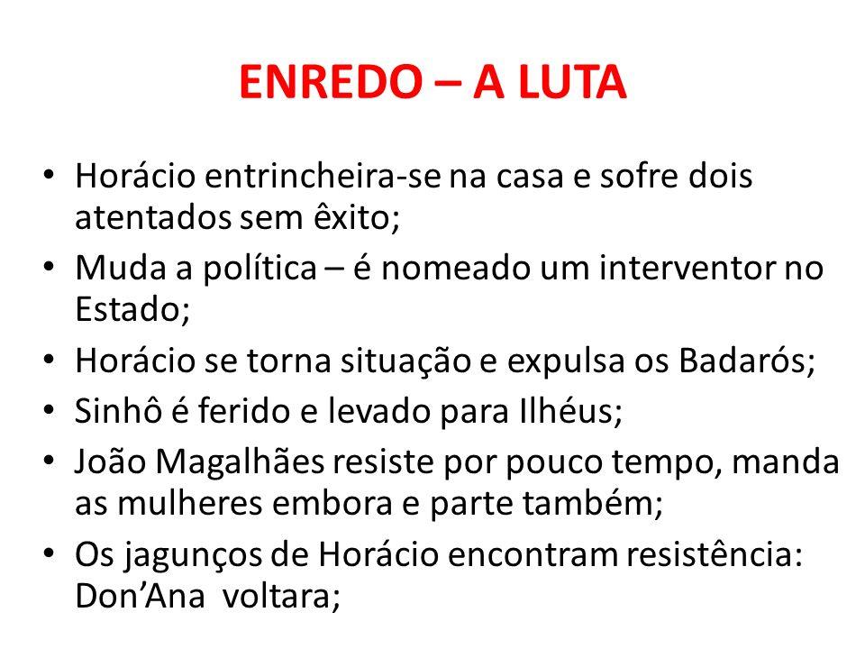ENREDO – A LUTA Horácio entrincheira-se na casa e sofre dois atentados sem êxito; Muda a política – é nomeado um interventor no Estado;