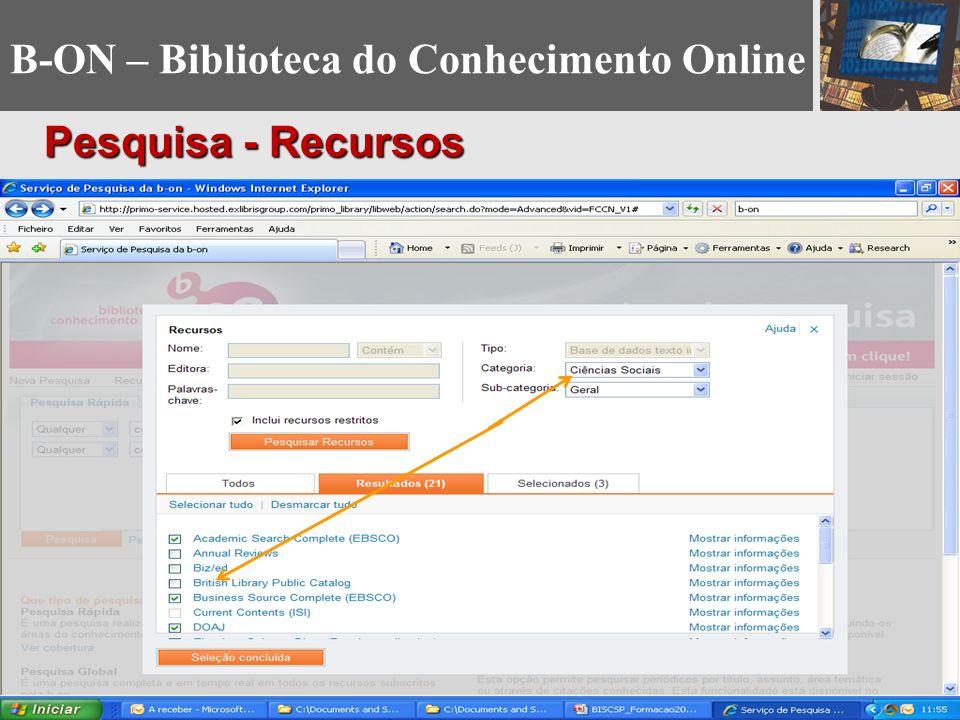 B-ON – Biblioteca do Conhecimento Online