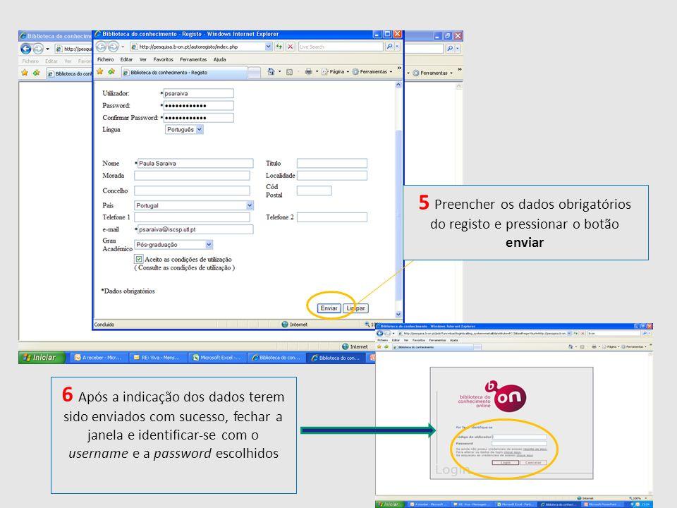 5 Preencher os dados obrigatórios do registo e pressionar o botão enviar