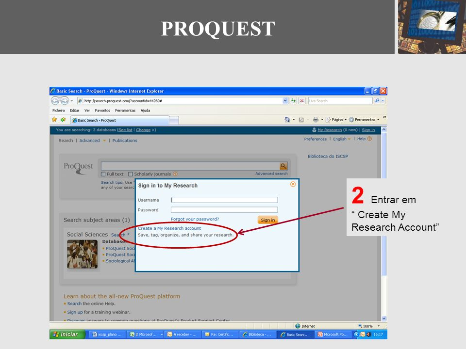 PROQUEST 2 Entrar em Create My Research Account