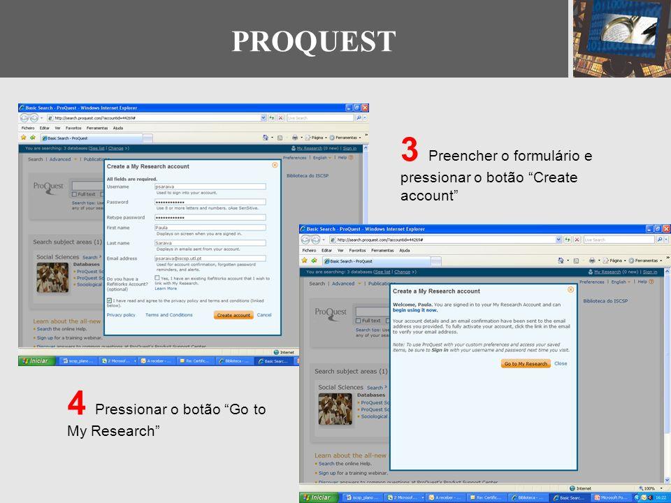 3 Preencher o formulário e pressionar o botão Create account