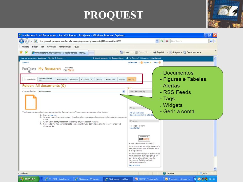 PROQUEST - Documentos - Figuras e Tabelas - Alertas - RSS Feeds - Tags