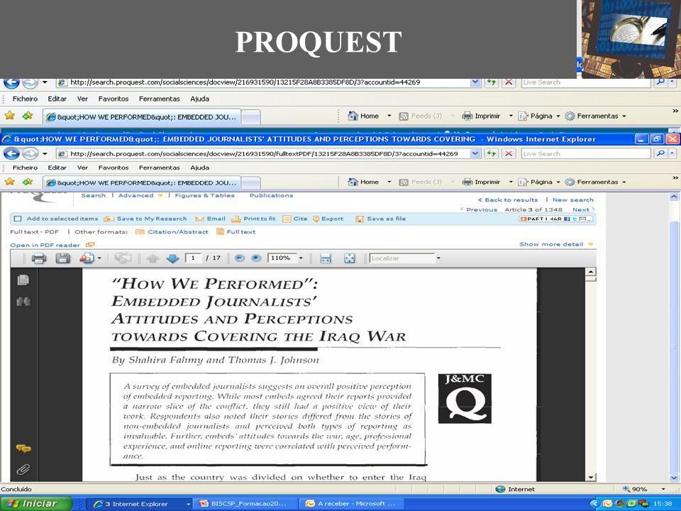PROQUEST Guardar E-mail Citar Links para as redes sociais Citação