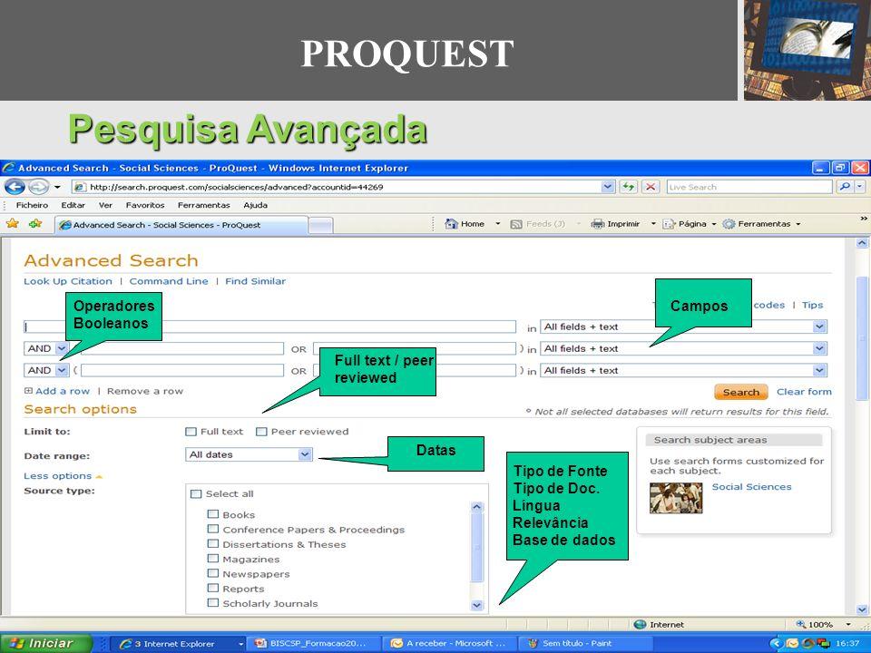 PROQUEST Pesquisa Avançada Campos Operadores Booleanos