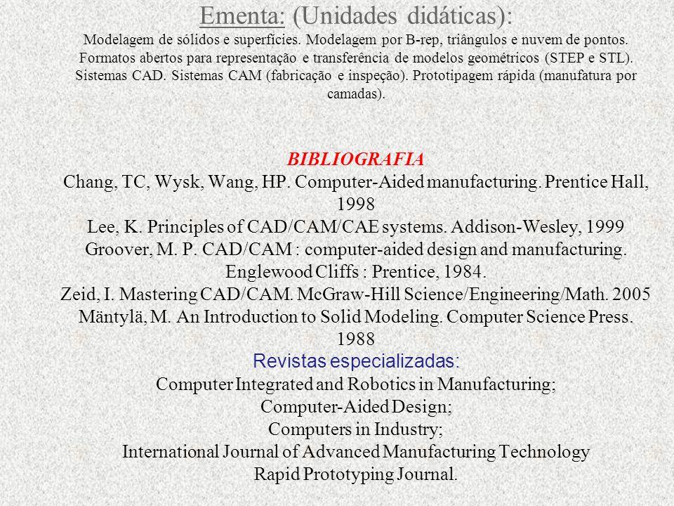 Ementa: (Unidades didáticas): Modelagem de sólidos e superfícies