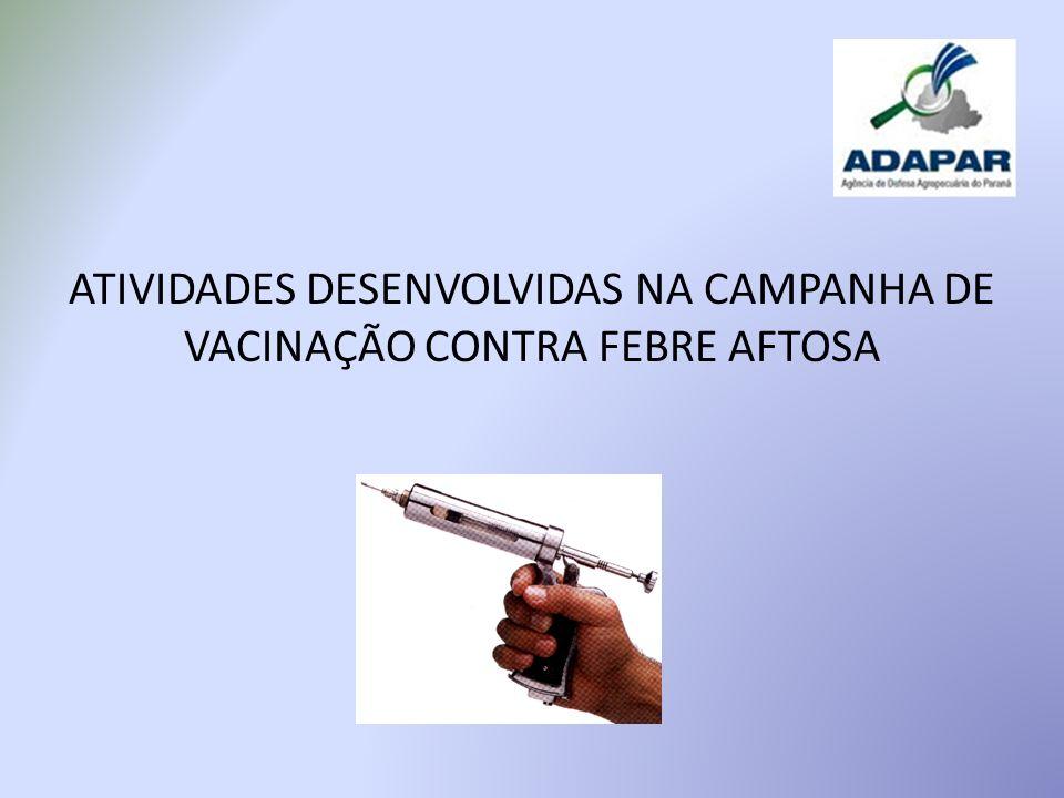 ATIVIDADES DESENVOLVIDAS NA CAMPANHA DE VACINAÇÃO CONTRA FEBRE AFTOSA