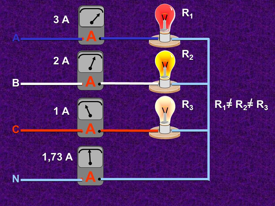 3 A 2 A 1 A A R1 A R2 A B A R3 R1= R2= R3 C A 1,73 A N