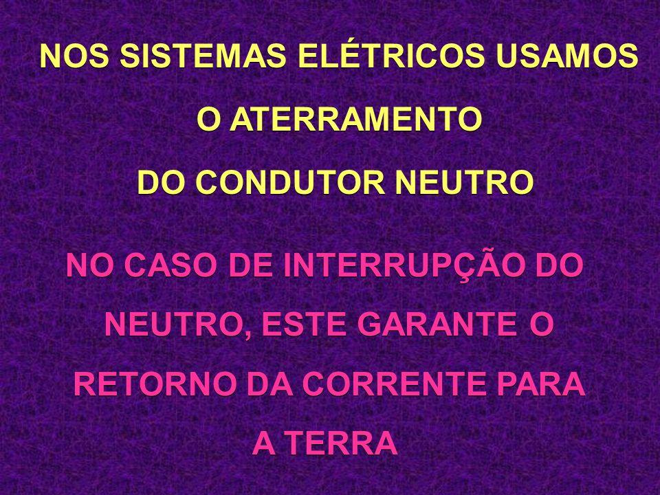 NOS SISTEMAS ELÉTRICOS USAMOS O ATERRAMENTO DO CONDUTOR NEUTRO