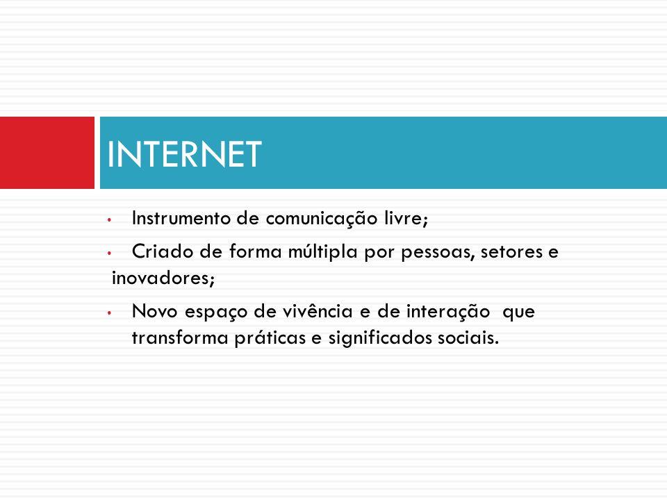 INTERNET Instrumento de comunicação livre;