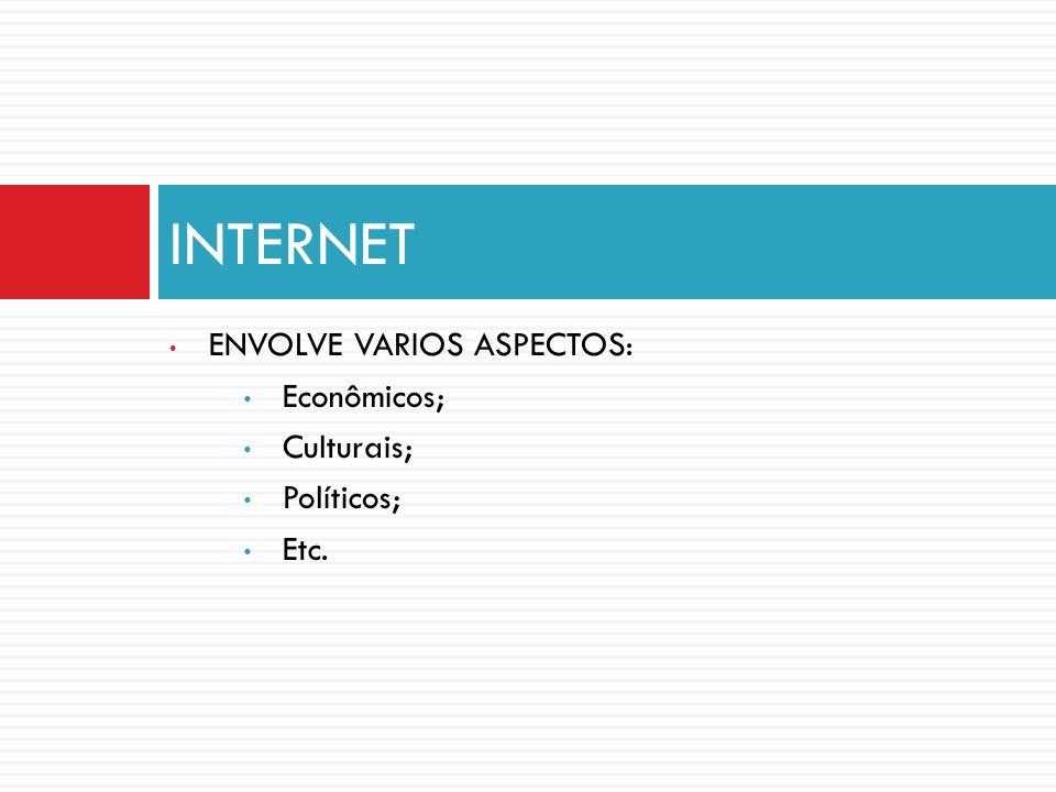 INTERNET ENVOLVE VARIOS ASPECTOS: Econômicos; Culturais; Políticos;
