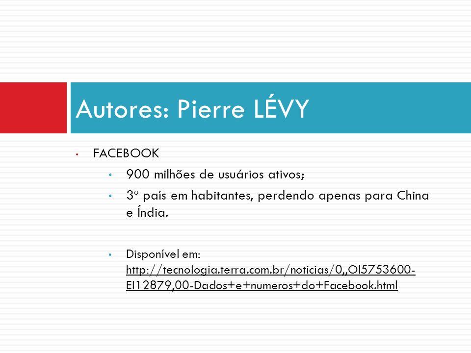 Autores: Pierre LÉVY FACEBOOK 900 milhões de usuários ativos;