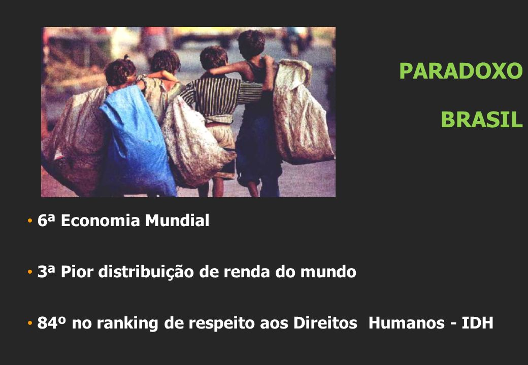 PARADOXO BRASIL 6ª Economia Mundial