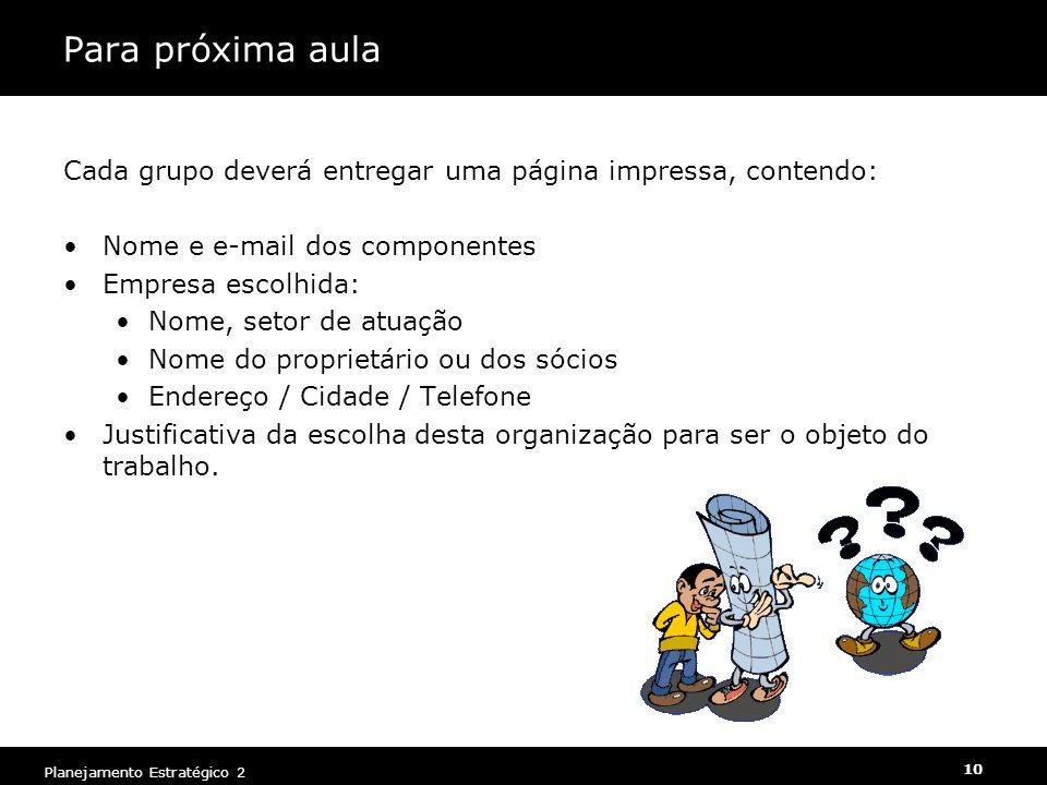 Para próxima aula Cada grupo deverá entregar uma página impressa, contendo: Nome e e-mail dos componentes.