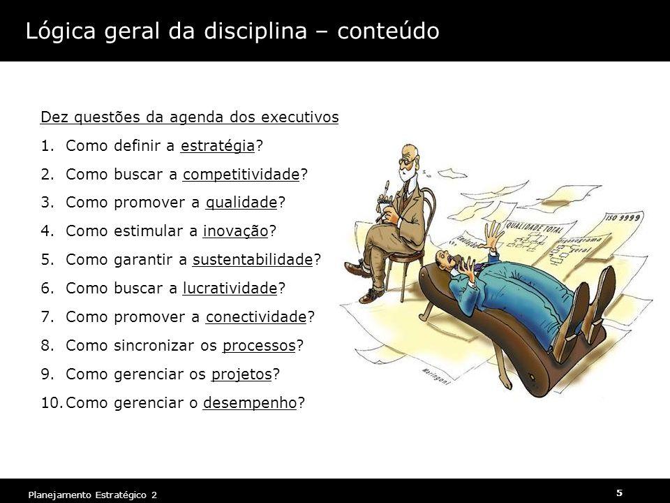 Lógica geral da disciplina – conteúdo